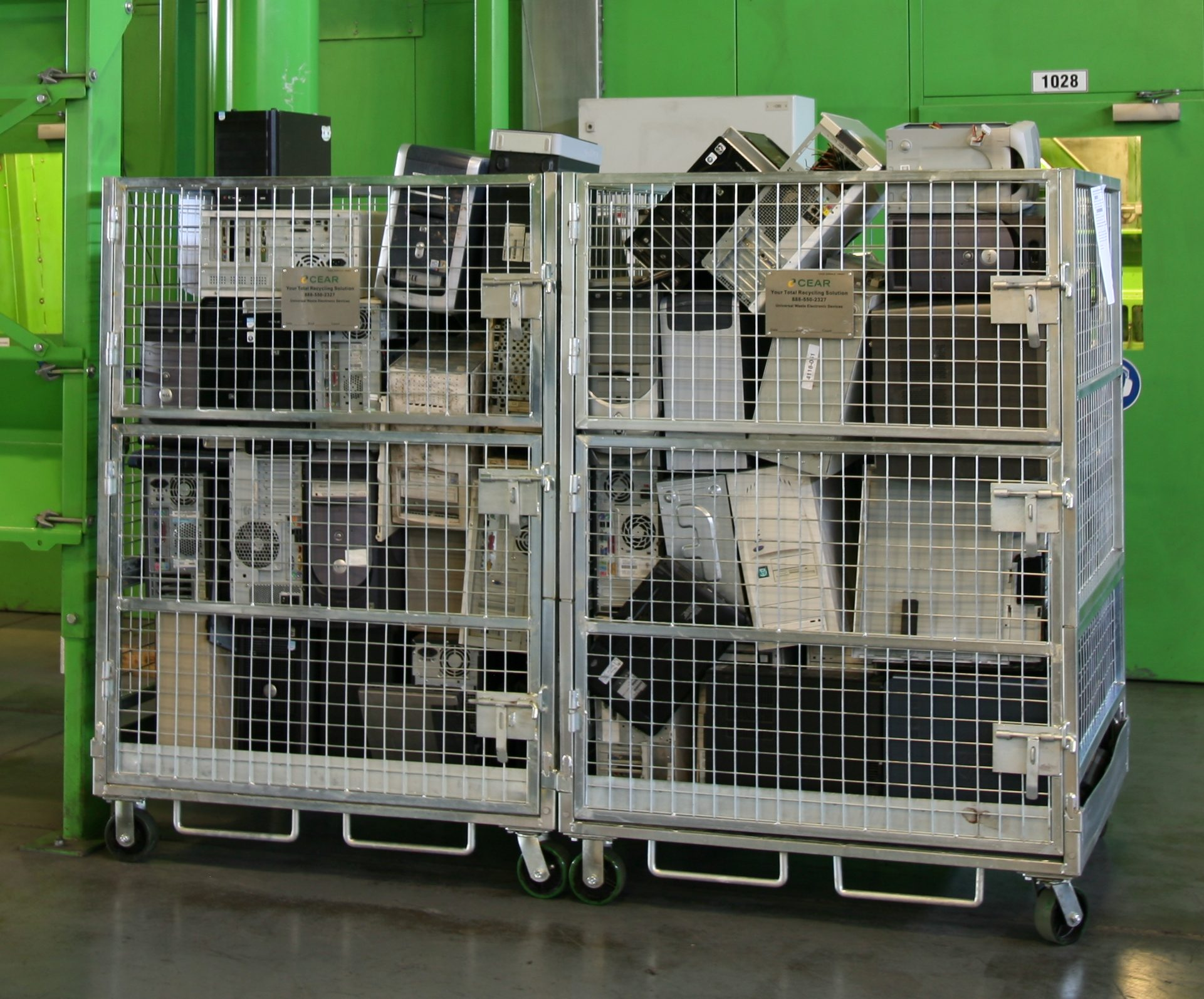 Our e-cage asset collection system is a collapsible stainless-steel pallet sized cage including bar code tracking and locks. This reusable system reduces the need for shrink wrap and wooden pallets and provides our customer's with a full chain of custody control.